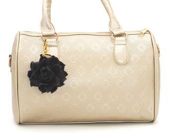 Genuine Leather Flower Bag Charm, Black Rose Bag Clip, Real Leather Purse Charm, Flower Bag Clip, Key chain Rose Clasp, Handbag Zipper Charm