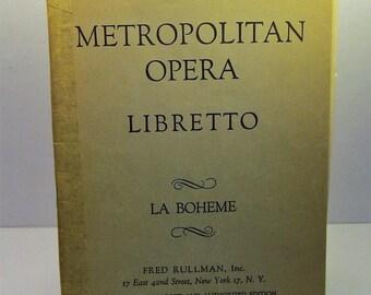 1917 Metropolitan Opera Libretto La Boheme