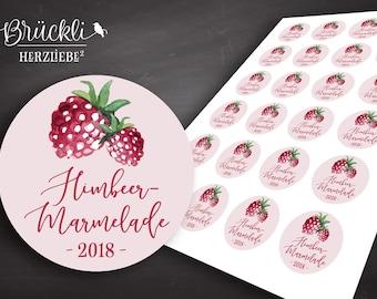 24 Stickers/labels/stickers for raspberry jam/raspberry jam/Homemade Jam