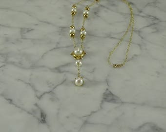 """10K Pearl Lavalier Yellow Gold Necklace (17"""")"""
