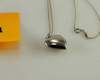 "Heart Locket Pendant on 17"" Sterling Chain"