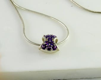 """Purple Stones over Sterling Slider Pendant on a 16 1/2"""" Chain All sterling"""