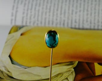10 KT Gold Turquoise Stick Pin