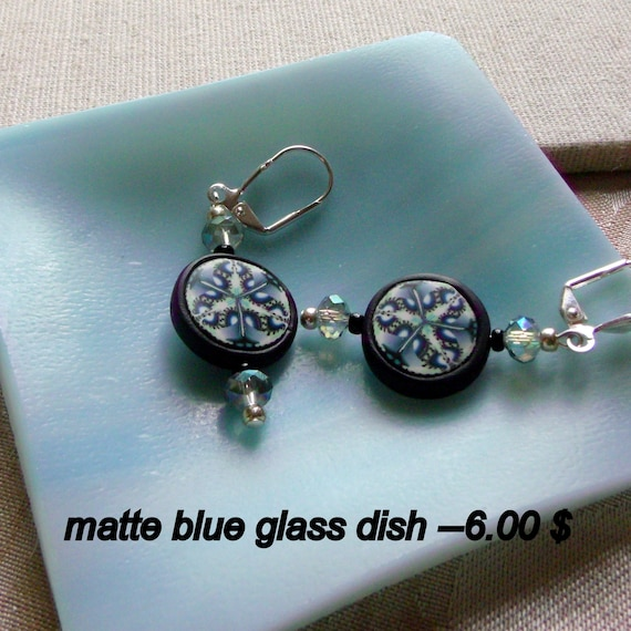 Black - white - teal disk polymer clay earrings - abstract - kaleidoscope - light weight - glass trinket dish gift set  -  crystals