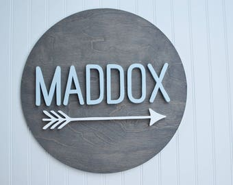 """Nursery Name Sign//18"""" Round Wood Name Sign with single arrow//Wood Name Cut Out//Baby Name Sign//Custom Name Sign"""