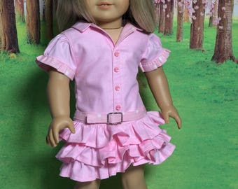 "Fits American Girl doll dress, drop waist dress, ruffled dress,  Designer dress, 18"" doll dress, belt, Fits like American Girl doll clothes"