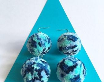 Aquamarine Blue Double Pompom Earrings, Drop pom pom earrings, festival fashion, on trend jewellery, boho style, fluffy accessories