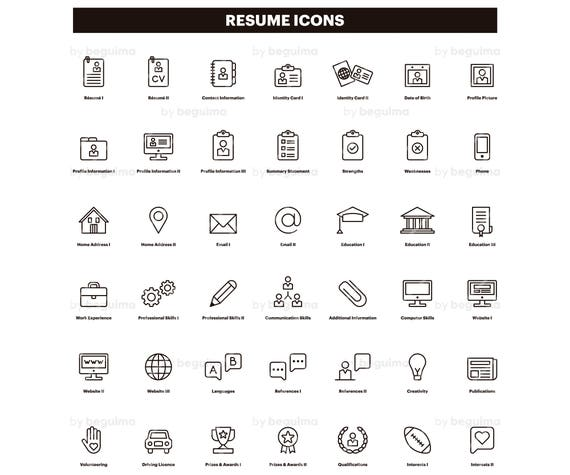 resume icons  cv clip art  curriculum clipart  set of icons  line linear black outline  vector
