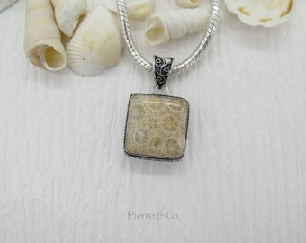 Square Shape Bali Fossil Sterling Silver Pendant and Chain