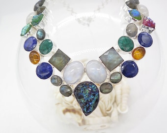 Drusy Moonstone Labradorite Raw Cut Emerald Sapphire Sterling Silver Necklace