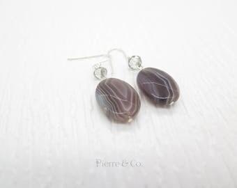 Brown Lace Agate Sterling silver dangle Earrings