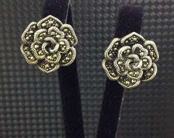 925 Sterling Silver, Silver earrings with marcasites, vintage silver jewelry, marcasite jewelry, vintage silver earrings, vintage jewelry