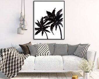 Palm Tree Print Black and White Printables