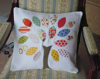 Cushion cover pattern tree imaginary bright tones on white quilted