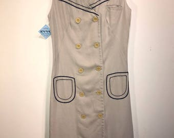 Vintage Lord & Taylor Beige w/Navy Piping Day Dress