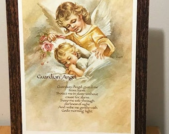 GUARDIAN ANGEL With Prayer Picture Watching Over a Sleeping Child - 12x9  Picture