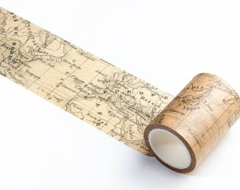 Wide Washi Tape with Vintage Map - Masking Tape for Crafts, Scrapbooking, Travelers Notebook, Journaling