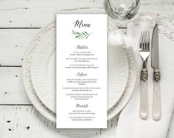 Wedding Menu Printable, Menu Editale Template | Menu Printable, Reception Printable, Floral Branch, Dinner Menu 4x9"
