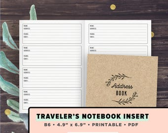 B6 TN Inserts | Address Book, Contacts list Printable | Fits Foxy Fix no. 5, Chic Sparrow Traveler's Journals, Instant Download, PDF