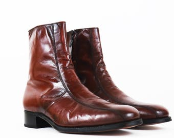 Vintage Brown Leather Minimalist Chelsea Ankle Boots size 9.5 US MENS