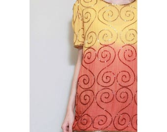 Vintage 1980's Yellow And Orange Ombre Beaded Top