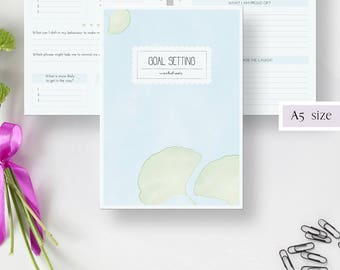 GOAL SETTING worksheets · 20 printable planner pages · A5 · Goal planner · Goal journal · Brainstorming · Breakdown · Action plan · Review