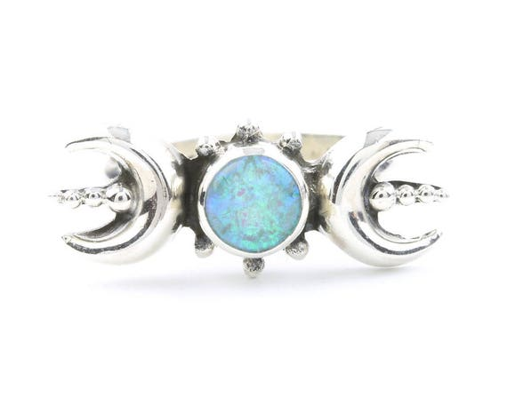 Sterling Silver Triple Goddess Opal Ring, Moon Ring, Moon Phases, Lab Opal, Boho, Bohemian, Gypsy, Festival Jewelry, Wiccan