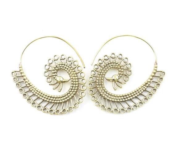 Peacock Earrings, Spiral Bird Earrings, Swirl Earrings, Tribal Earrings, Festival Jewelry, Gypsy Earrings, Ethnic, Yoga