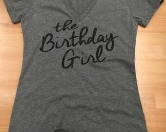 Birthday Girl / Best Friend / Squad - Flat/Glitter Lettering - Womens V Neck