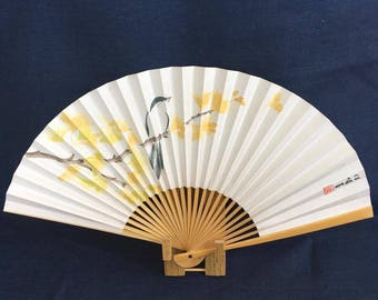Oriental Japanese fan hand-painted paper and bamboo; fall autumn nature blue bird among gingko ginkgo maidenhair tree leaves