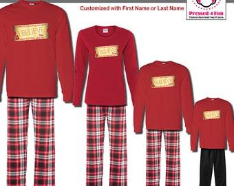 Holiday Pajamas & Youth Loungewear Express Train Ticket Design   Family Matching Christmas Pajamas   Christmas Pajamas   Polar Express PJs