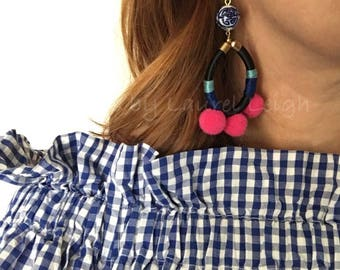 Chinoiserie Pom Pom Hop Earrings | HOT PINK, blue and white, gold, multicolor, multicolored, blue, pink, dangle, statement earrings