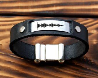 Personalized Bracelet, Sound Waves Bracelet, Voice Recording, Keepsake Bracelet, Mementos bracelet, Wedding Anniversary Gift, mens bracelet