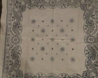 Vintage White and Black Paisley Bandana 100% Cotton colorfast Rn 13960 Made in USA  bandanas