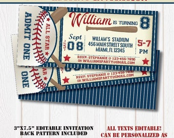 All Star Baseball Birthday Invitation-SELF-EDITING Baseball invitation-Baseball Party-Sport Birthday Party-First Birthday-Any Age-A137-B