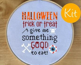 Halloween Cross Stitch Kit, Creepy Cross-Stitch Pattern - Spooky, Trick or Treat, Eyeball, Skull, Give Me Something Good to Eat!