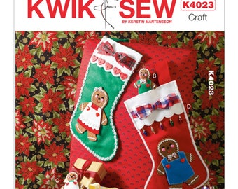 Sewing Pattern for Ornaments and Stockings, Kwik Sew Pattern 4023, Christmas, Ginger Bread Stockings, Ginger bread or Heart Ornaments