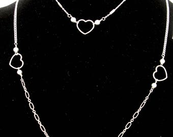 A Unique Sterling Silver Heart Necklace on Sterling Silver Long and Short Cable Chain available with Heart Bracelet