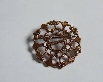 Knut P design vintage bronze brooch.