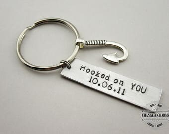 Hooked on You Keychain, Custom Keychain, Fishing, Anniversary Gift, Personalized Keychain, Hand Stamped,Gift for Boyfriend, Gift for Husband
