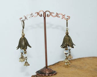 Bells, brass and Czech crystal earrings