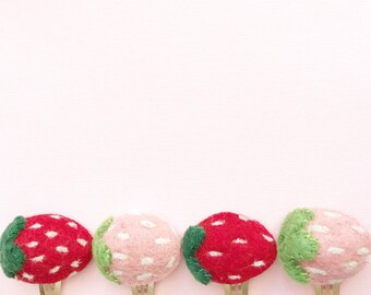 Puffy felt strawberry hair clip or headband