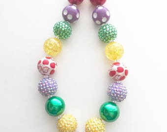 SALE! Adorable Bookworm/Back to School Chunky Bubblegum Beads Necklace