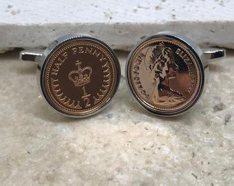 1978 half penny coin cufflinks - 40th birthday gift - silver