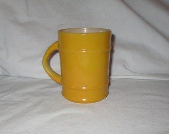 Vintage Anchor Hocking Gold Yellow Ribbed Mug