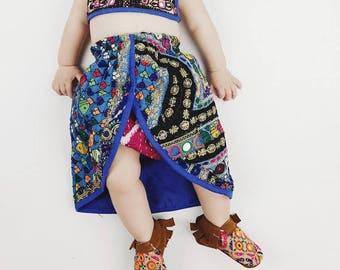 0-6 months, Tulip Skirted Banjara Set, bohemian baby skirt, baby bloomers, baby romper, hippie baby, boho baby shower, baby beach, baby crop