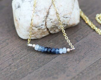 Natural Ombre Sapphire Necklace 14K Gold Vermeil , Delicate Layering , Line Necklace , From Canada , 5th 45th Anniversary , OOAK
