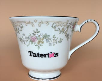 Tatert*ts | Ready To Buy Swear Teacup and Saucer | Funny Rude Insult Obscenity Profanity | Unique Gift Idea