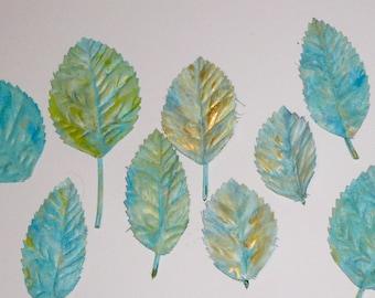 Aqua Floral Leaves Gold Leaves Hand Painted Leaves Aqua Silk Leaves Craft Supplies