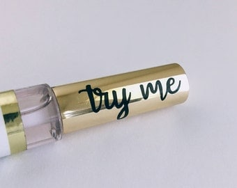 Try Me Lipsense Decal Stickers Makeup Swatch